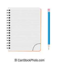 Vector notebook with a blue pencil