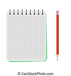 Vector notebook with a red pencil