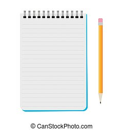 Vector notebook with a yellow pencil