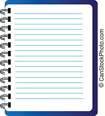Vector notepad - Vector blue notepad isolated over white...