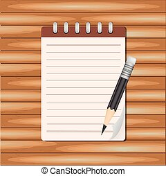 Vector Notepad paper with pencil on wood background.