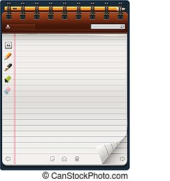 Detailed vertical notepad template - can be used for application or website