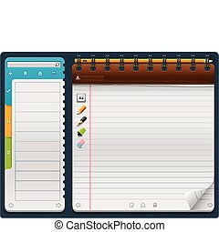 Vector notepad template_horizontal - Detailed horizontal...