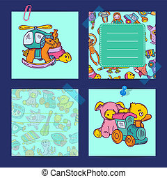 Vector notes set with children toys illustration