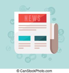vector, noticias, concepto, en, plano, estilo