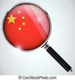 NSA USA Government Spy Program Country China - Vector - NSA...