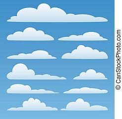 vector, nubes, en, el, cielo