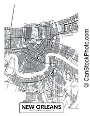 vector, nuevo, diseño, orleans, ciudad, viaje, mapa, cartel