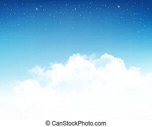 vector., nuit, étoiles, fond, sky.