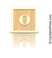 Vector number 0 wooden block