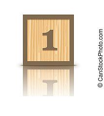Vector number 1 wooden block