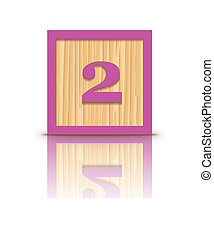 Vector number 2 wooden block