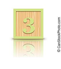Vector number 3 wooden block