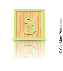 Vector number 3 wooden block