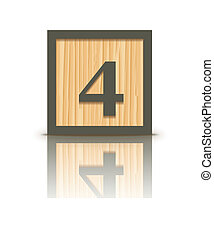 Vector number 4 wooden block