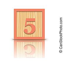 Vector number 5 wooden block