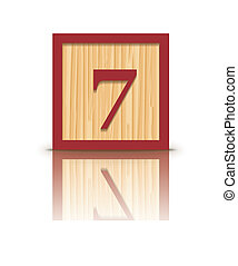 Vector number 7 wooden block