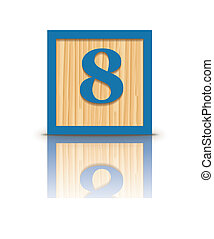 Vector number 8 wooden block