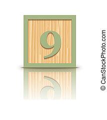 Vector number 9 wooden block