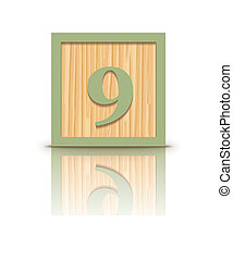 Vector number 9 wooden block