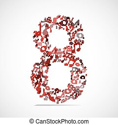 Vector number eight made from music notes