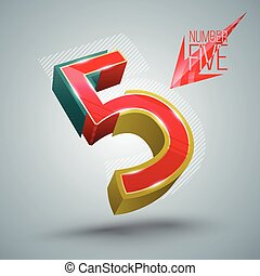 Vector Number Five 3D style.