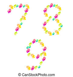 Vector number of hands isolated on white. Eps 10