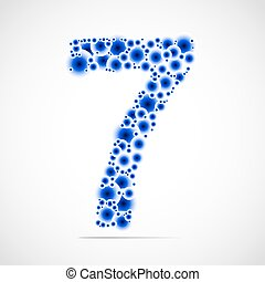 Vector number seven made from balls