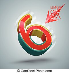 Vector Number Six 3D style.