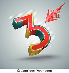 Vector Number Three 3D style.