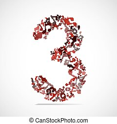 Vector number three made from music notes.