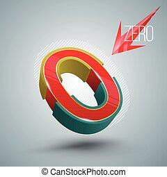 Vector Number Zero 3D style.