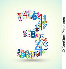 vector, nummer 3, gekleurde, lettertype, getallen