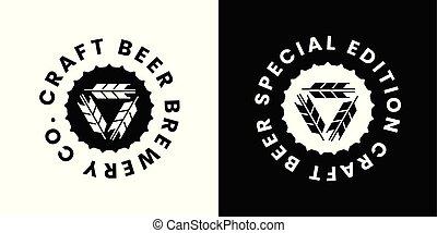 vector, o, bebida, logotipo, señal, aislado, cerveza, tienda...