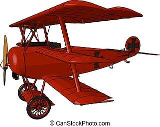 vector, o, biplano, alas, dos, color, avión, ilustración