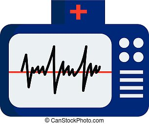 vector, o, electrocardiograma, normal, ecg, color, ...