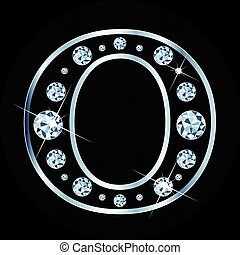 Vector O letter made with diamonds isolated on black background