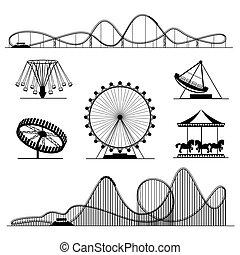 vector, o, rodillo, diversión, coasters, conjunto, parque, entretenimiento, luna, paseo