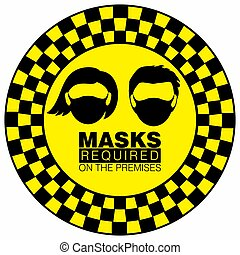 vector, o, uso, señal de peligro, precaución, ilustración, máscara