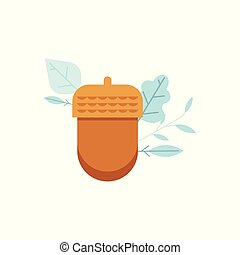 Vector Oak acorn icon in flat style.\