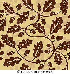 vector oak leaf acorn seamless background pattern