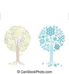 vector oak tree in different seasons