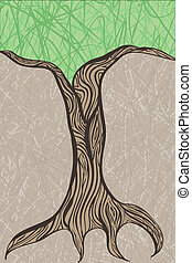 vector oak tree trunk  with place for your text at the top