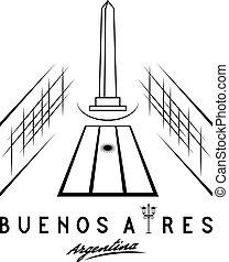 vector, obelisco, nacional, ilustración, histórico, aires, ...