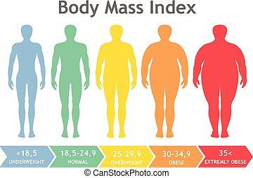 vector, obesidad, peso insuficiente, cuerpo, degrees., masa, macho, ilustración, siluetas, índice, weight., diferente, hombre, obese., sumamente