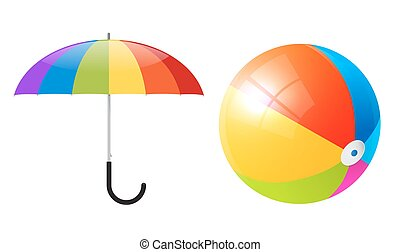 Vector Objects - Colorful Beach Ball and Umbrella or Parasol Isolated on White Background