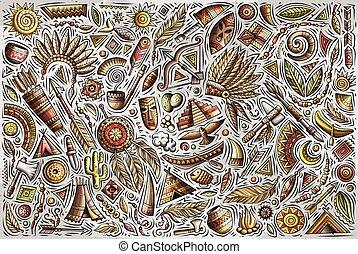 vector, objetos, conjunto de mano, norteamericano, dibujado, garabato, colorido, nativo, caricatura