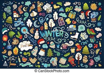 vector, objetos, doodles, mano, colorido, dibujado, ...