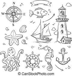 vector, objetos, mar, marina, mano, dibujado, animales, conjunto, océano