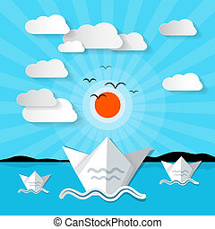 Vector Ocean Landscape with Clouds and Sun